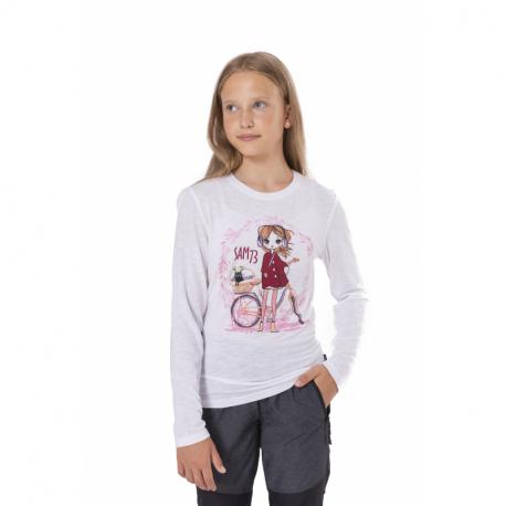 Dívčí triko s dlouhým rukávem SAM73-CHARLOTTE-000-White