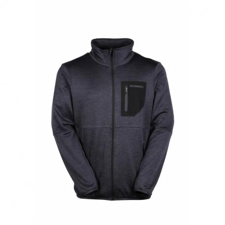 Pánská turistická flísová mikina se zipem FUNDANGO-JEFFERSON Fleece Jacket-891-black heather