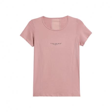 Dámské tréninkové tričko s krátkým rukávem 4F-WOMENS FUNCTIONAL T-SHIRTS H4Z21-TSDF018-56S-LIGHT PINK