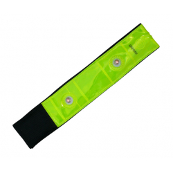 Reflexné prvky LONGUS-Páska reflexná so 4 LED žltá 3x42cm velcro EN13356