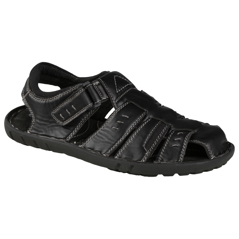694ce9ba9 Pánska módna obuv LANCAST-Black sandal velcro 1 - Pánske pohodlné sandále s  uzavretou špičkou