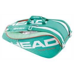 Taška na tenisové rakety HEAD-TOUR TEAM SUPERCOMBI 9R TURQUOISE/CORAL