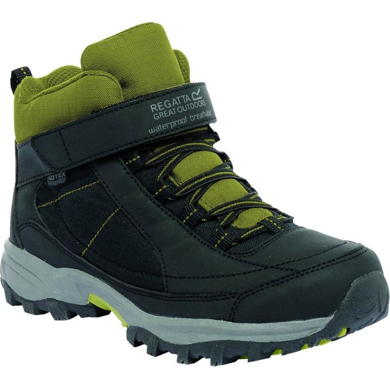 3f692cf0edd8 Juniorská turistická obuv stredná REGATTA Trailspace Mid Jr Black ExtGrn -