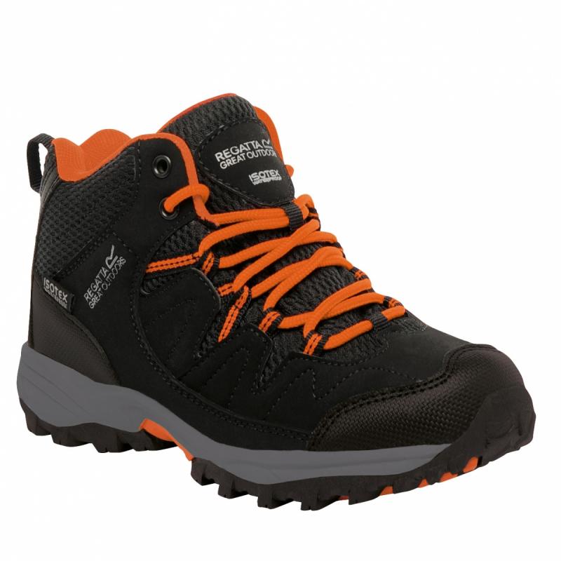 a70c403e826c Juniorská turistická obuv stredná REGATTA Holcombe Mid Jnr Black Magma -