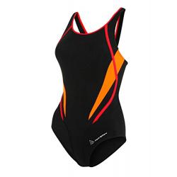 Dámske plavecké jednodielne plavky AQUA SPHERE JULIA-black bright orange