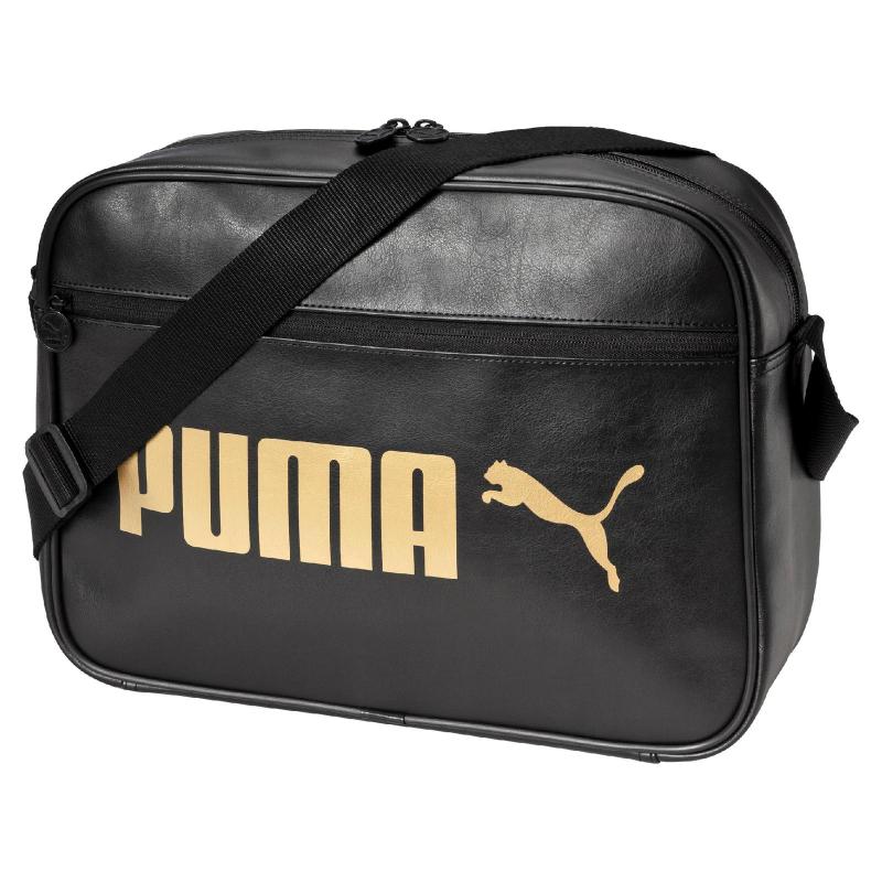 Taška cez rameno PUMA-Campus Reporter Puma Black-Gold - 729e7cc523