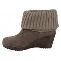 Dámska zimná obuv vysoká 2a-SUEDE/WOOL - Dámska zimná obuv značky 2A v hnedom prevedení s platformou a vlnenou časťou, obuv je taktiež zateplená.