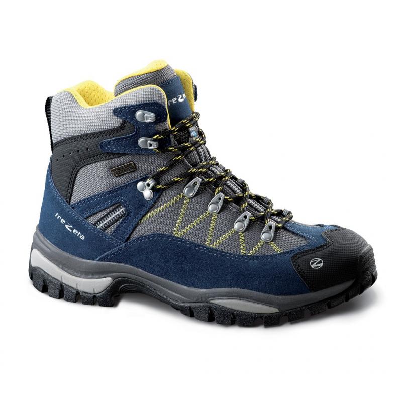 TREZETA-ADVENTURE WP BLUE-YELLOW - Pánska obuv značky Trezeta pre turistov, ktorí hľadajú pohodlie a ochranu pri mnohých hodinách intenzívneho trekingu.