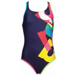 Dievčenské plavecké jednodielne plavky ARENA G Patch Jr. one piece L modrá-multicolor