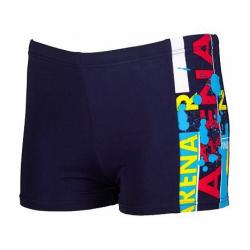 Chlapčenské plavecké boxerky ARENA B Woodblock Jr. short modrá-tyrkysová