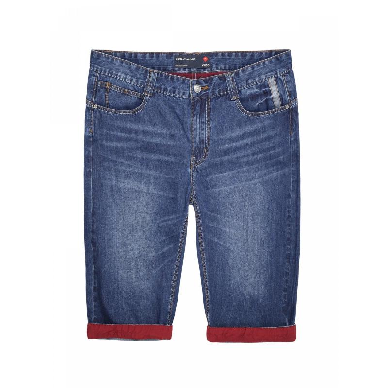 087195057a8 Pánske riflové kraťasy VOLCANO-D-TERST-Jeans-Navy - Pánske krátke nohavice