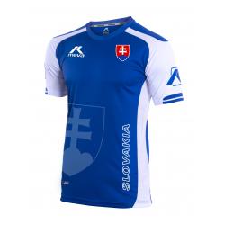 Pánsky futbalový dres s krátkym rukávom MEVA Shirt SLOVAKIA-Blue