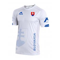 Pánsky futbalový dres s krátkym rukávom MEVA Shirt SLOVAKIA-White