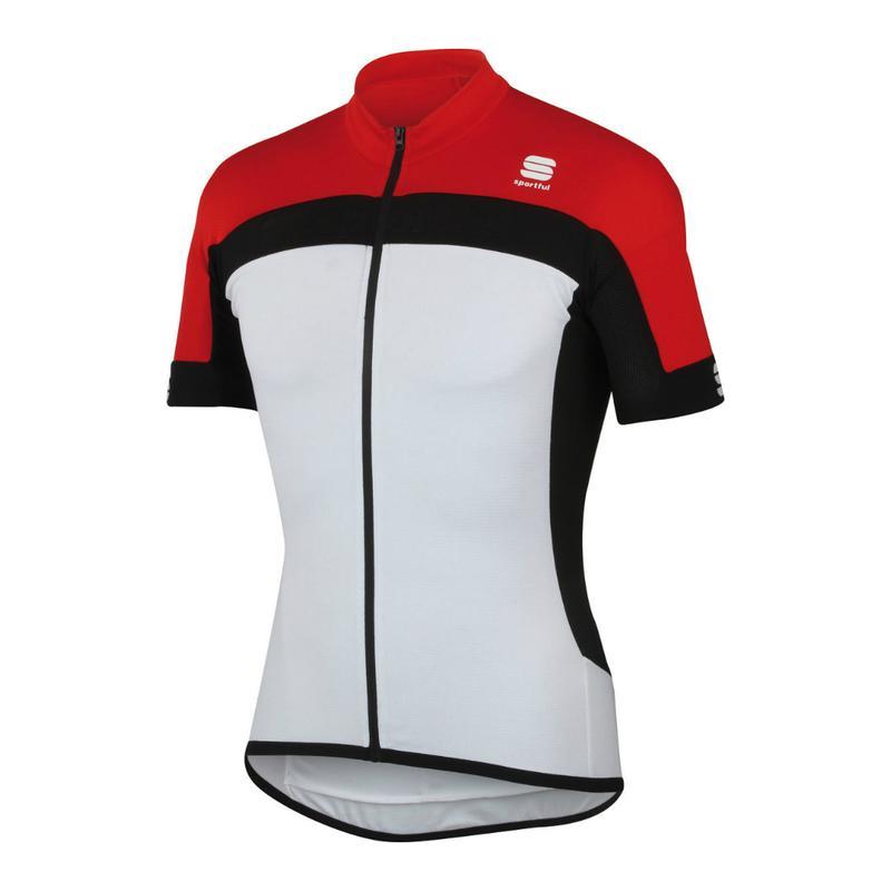 Pánsky cyklistický dres s krátkym rukávo SPORTFUL-Pista Longzip Dres  white red black aeeb515f8