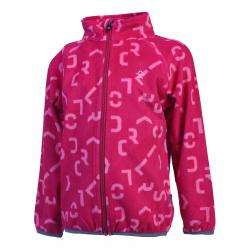 Dievčenská flisová mikina s celým zipsom COLOR KIDS-Kasandra fleece AOP-Pink dark