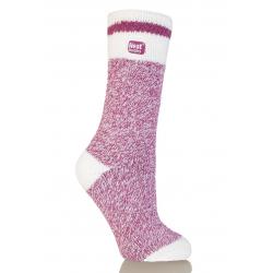 Dámske ponožky HEAT HOLDERS-Dámske ponožky Cream melír malinová