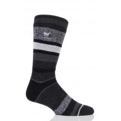 Pánske ponožky HEAT HOLDERS-Pánske ponožky LITE fashion STRIPE čierno/šedá
