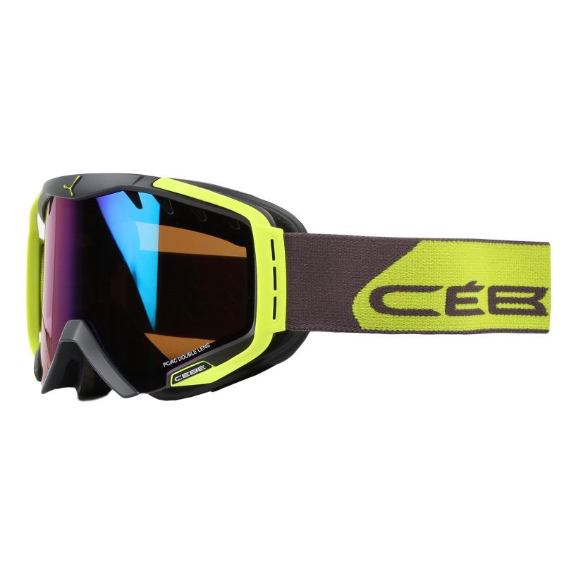 Lyžiarske okuliare CÉBÉ HURRICANE L - Mat Ciment Lime - Brown Flash Blue  Cat - Unisex e4b3875b2ea