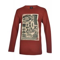 Pánske tričko s dlhým rukávom BERG OUTDOOR-LOUVET-MEN-Red dark