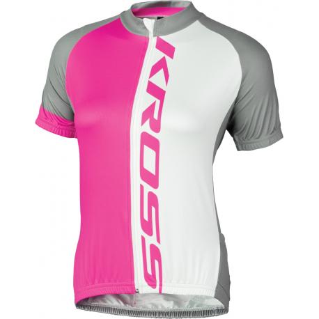 Dámsky cyklistický dres s krátkym rukávom KROSS-JERSEY PINK FLOW LADY
