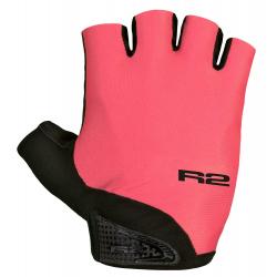 Cyklistické rukavice R2-Riley neónová červená/čierna
