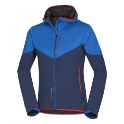 Pánska turistická softshellová bunda NORTHFINDER-BRENNEN-Blue dark