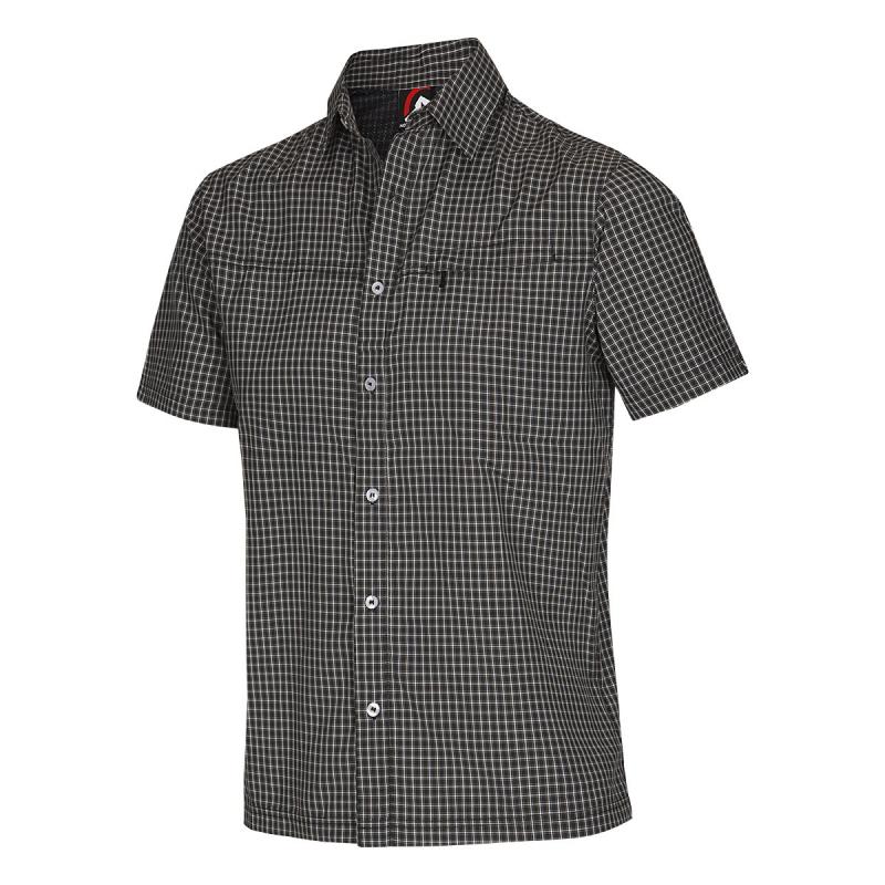 8b7512d2bbcd Pánska turistická košeľa s krátkym rukáv NORTHFINDER-NICHOLAS-Black -  Pánska košeľa s krátkym