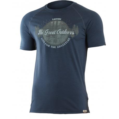 Pánske turistické tričko s krátkym rukáv LASTING LUCAS-Blue dark - Pánske termo tričko s krátkym rukávom značky Lasting.