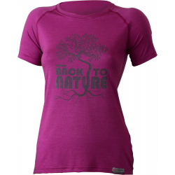 Dámske turistické tričko s krátkym rukáv LASTING BACK-Pink dark