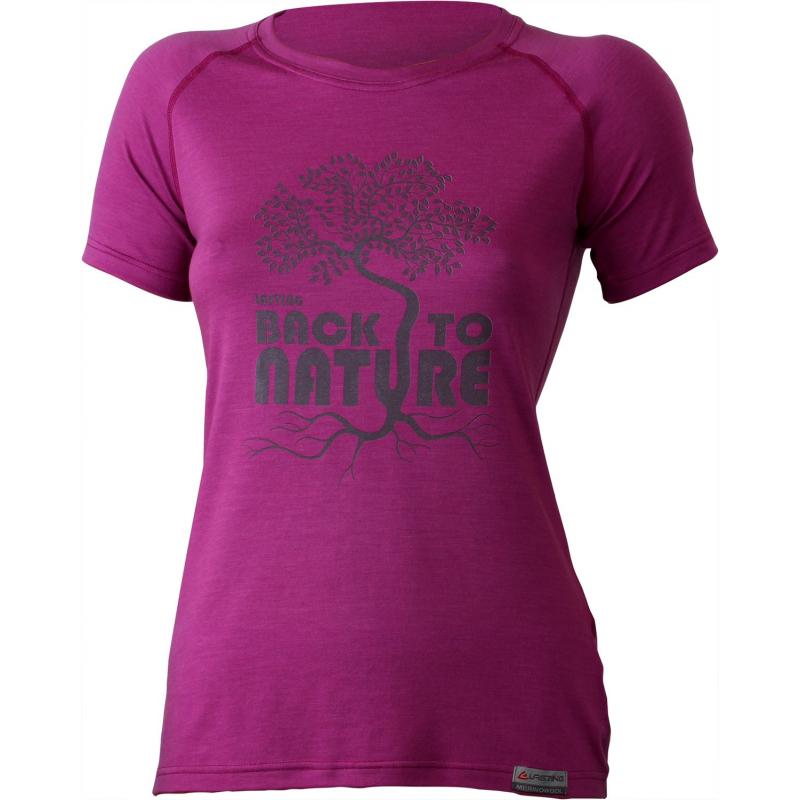 Dámske turistické tričko s krátkym rukáv LASTING BACK-Pink dark - Dámske tričko s krátkym rukávom značky Lasting.