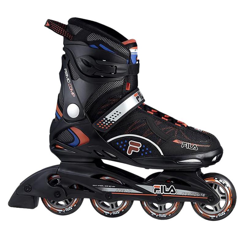 Fitness kolieskové korčule FILA SKATES-PRIMO COMP BLACK/BLUE/RED - Kolieskové korčule značky Fila skates, ktoré sú vďaka technológiámSoftWearTM a Air Flow priedušné s vysokou úrovňou komfortu.