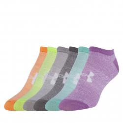 Dámske ponožky UNDER ARMOUR-SOLID 6 PKS NO SHOW-BLK
