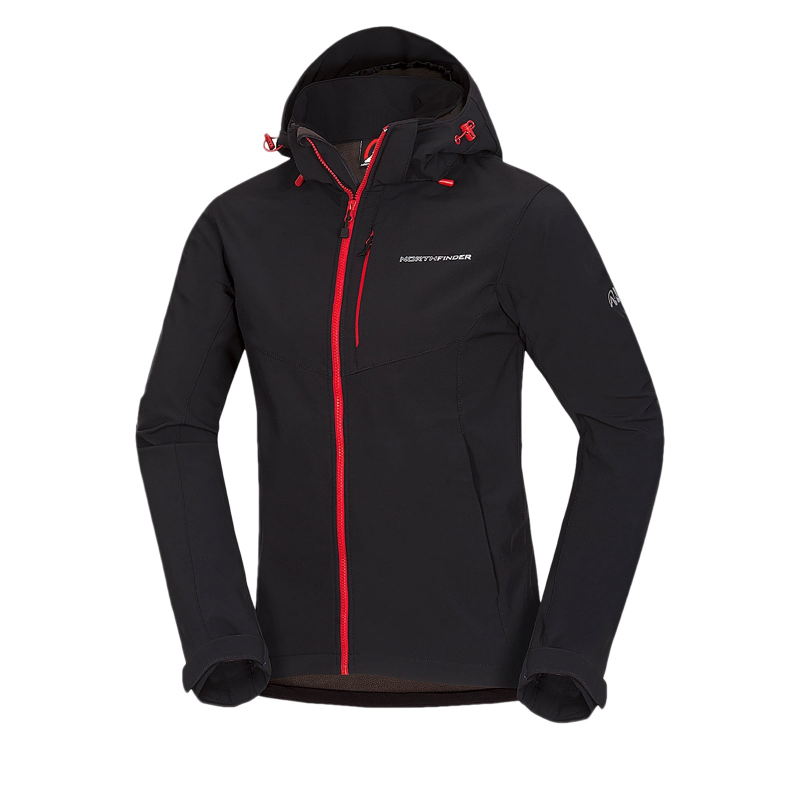 Pánska turistická softshellová bunda NORTHFINDER-MARQUIS-blackred -