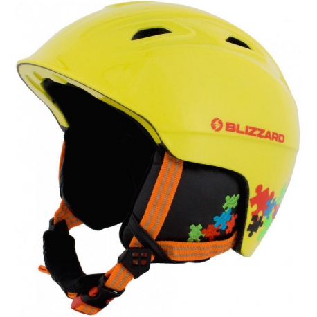 Lyžiarska prilba BLIZZARD-DEMON ski helmet junior, neon yellow/colorfull puzzles,