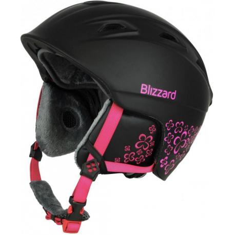 Dámska lyžiarska prilba BLIZZARD-VIVA DEMON ski helmet, black matt/magenta flowers,