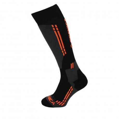 Lyžiarske kompresné podkolienky (ponožky) TECNICA-Competition ski socks, black/anfhracite/orange