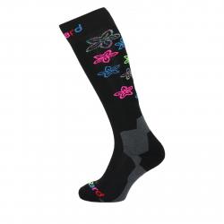 Dámske lyžiarske podkolienky BLIZZARD Viva Flowers ski socks, black/flowers
