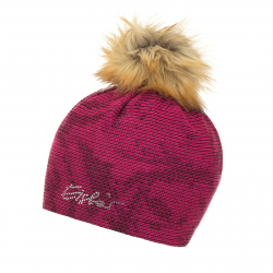 Dámska zimná čiapka EISBÄR-Rumer Lux Crystal MÜ schw/d.pink/pitti pink-braun