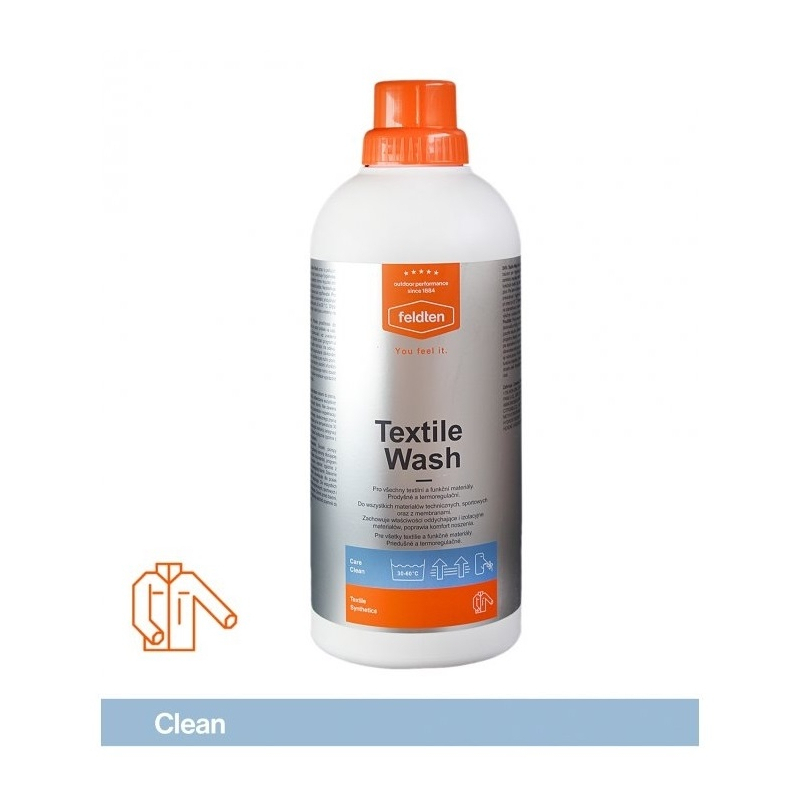 Ošetrovací prípravok na textil FELDTEN-TEXTILE WASH 1000ml - TEXtile WASH prací prostriedok a balzam na funkčné textílie značky Feldten.