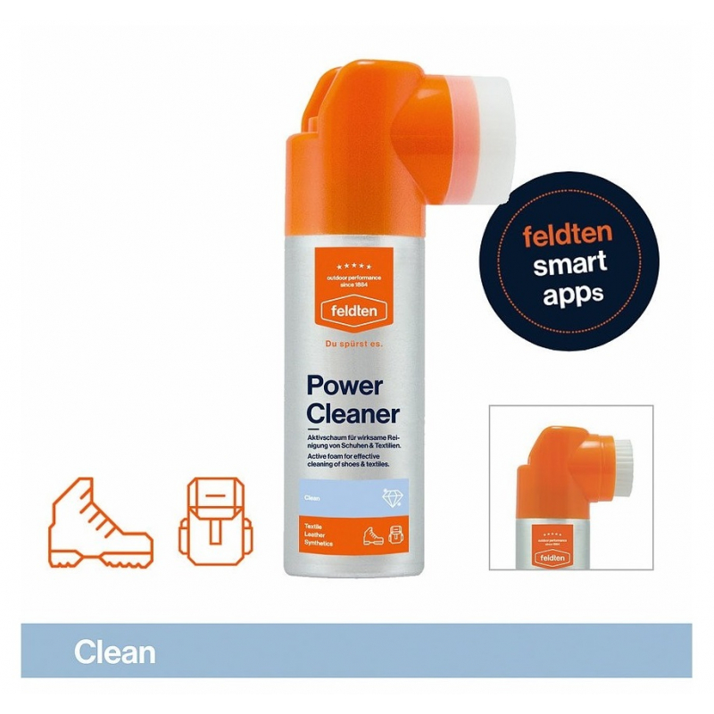 Ošetrovací prípravok na obuv FELDTEN-POWER CLEANER 125ml - Aktívna pena pre účinné čistenie obuvi a ostatných výrobkov z kože, textílií i zmiešaných materiálov značky Feldten.
