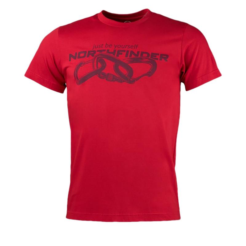 Pánske turistické tričko s krátkym rukávom NORTHFINDER-BELO-red -