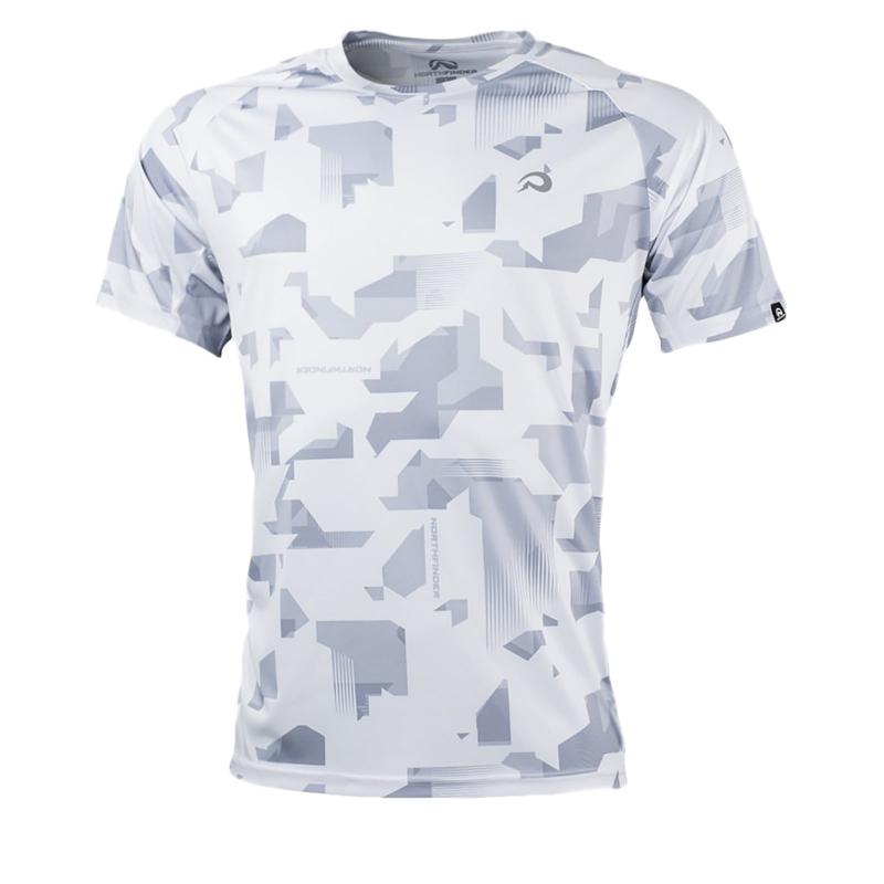 Pánske bežecké tričko s krátkym rukávom NORTHFINDER-RAPHAEL-greyprint_sivatlac -