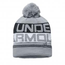 Pánska zimná čiapka UNDER ARMOUR-Men Retro Pom Beanie 2.0 Overcast Gray