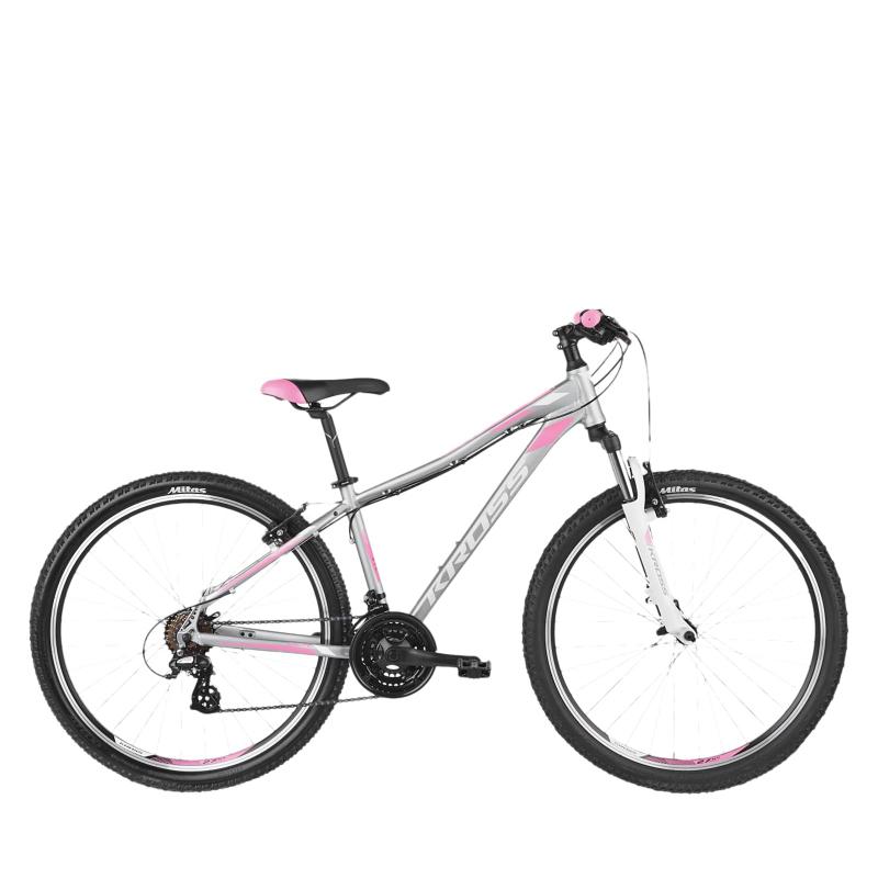 Dámsky horský bicykel KROSS-LEA_2.0 - sil_whi_pin -