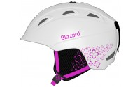 [BLIZZARD- DEMON ski helmet junior, white matt/magenta flowers]