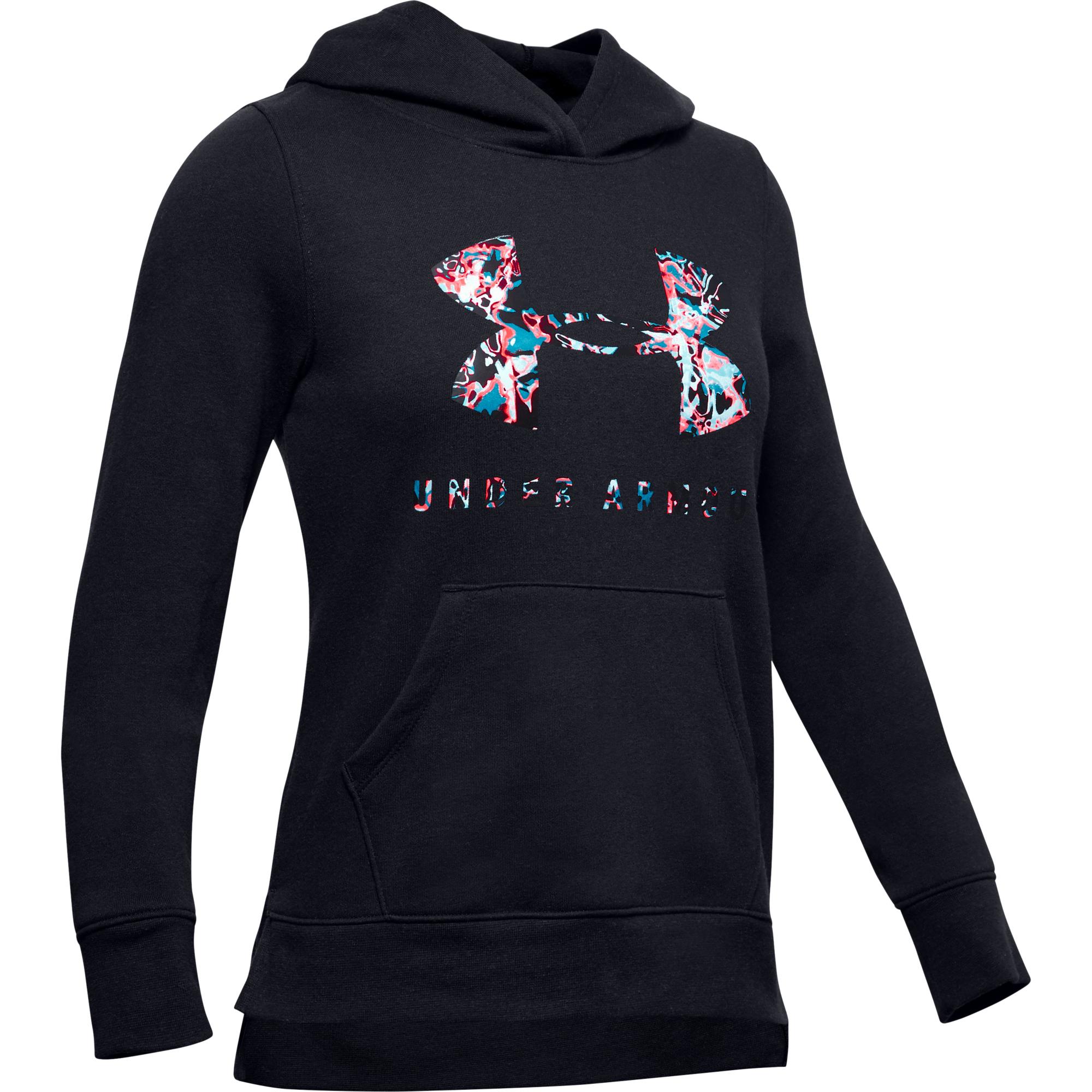 Dievčenská tréningová mikina UNDER ARMOUR-Rival Print Fill Logo Hoodie-BLK  | EXIsport Eshop